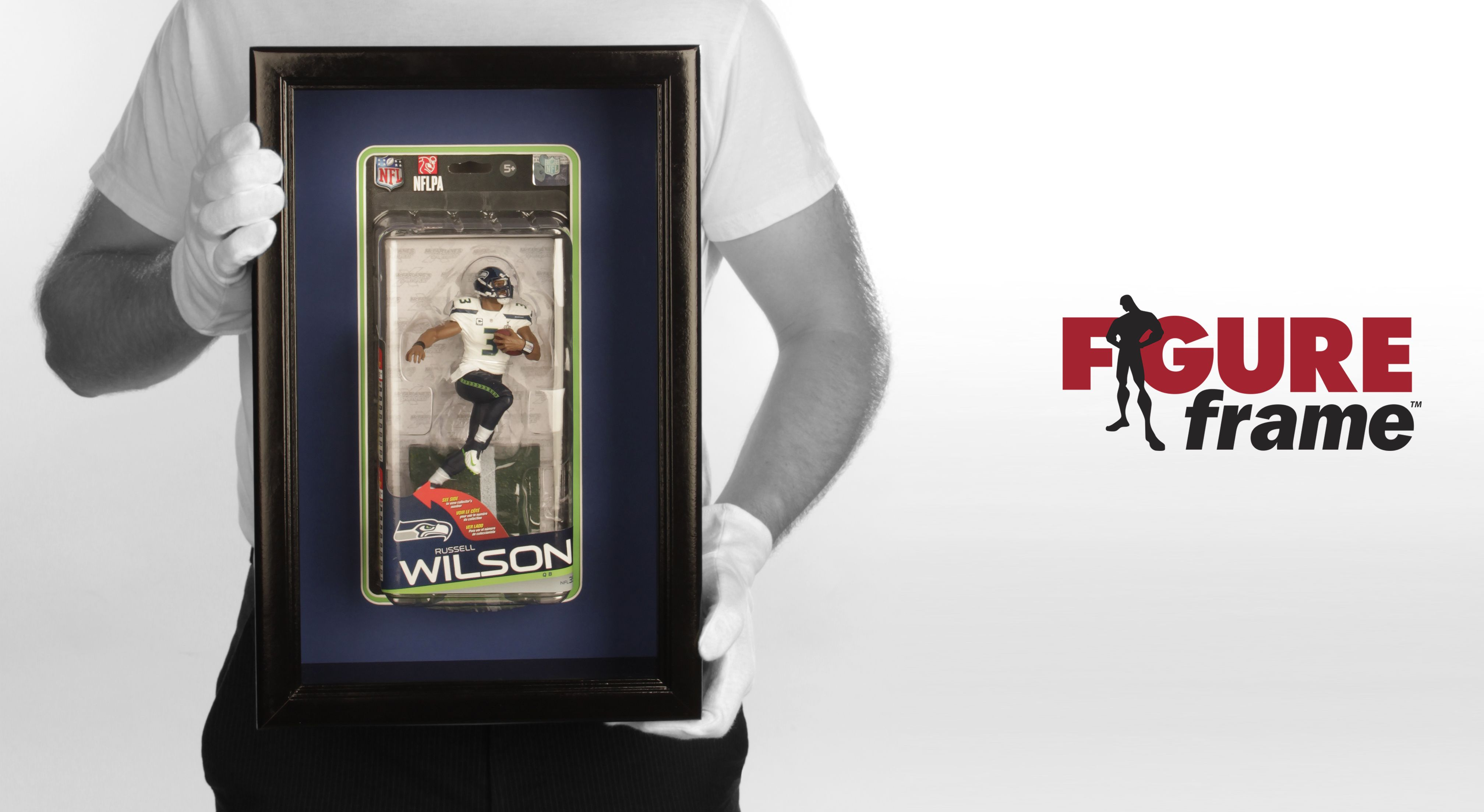Figure Frame with a Russell Wilson action figure. We can make the frame for any NFL player from the same series!