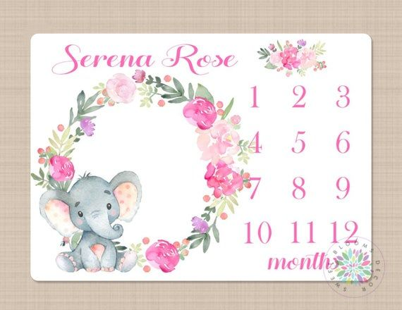 Milestone Blanket Elephant Pink Floral Girl Monthly Growth ...