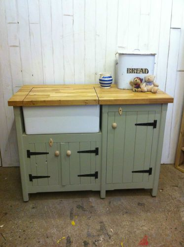 handmade freestanding butler belfast kitchen sink unit solid oak top french grey ebay - French Kitchen Sinks