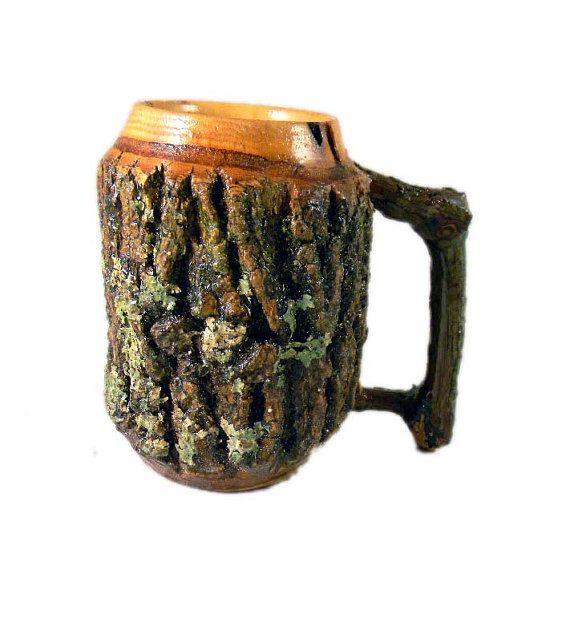 Wooden Coffee Mug Bark On Lathe Turned By Kentuckyrootswood Mugs