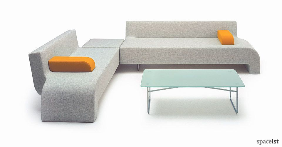 30 Grey Fabric Curvy Corner Sofa Design Reception