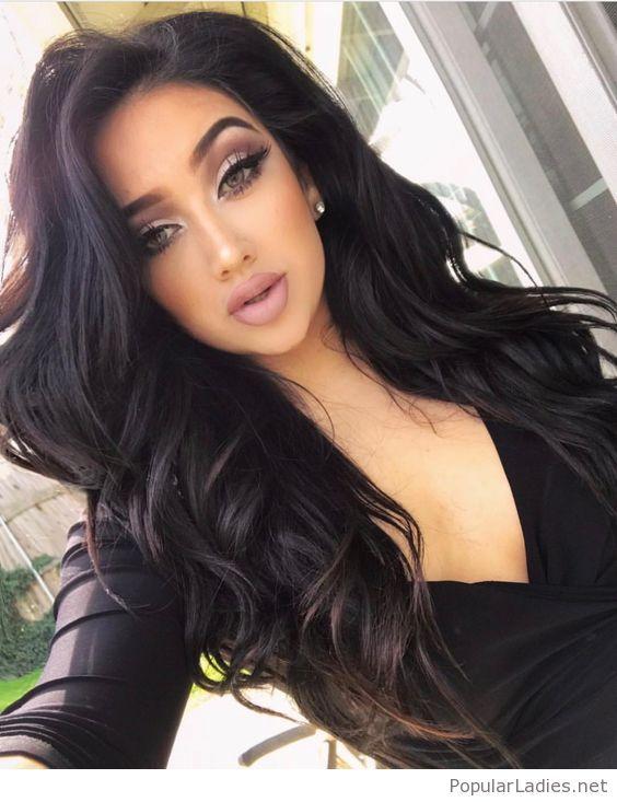 Amazing Dark Brown Hair Color Chart 12 Black Hair Color: Amazing Curly Black Hair And Make-up