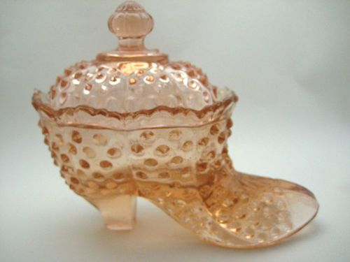 Pink Hob Nail #GlassShoe with Lid Glass Shoe Candy Dish