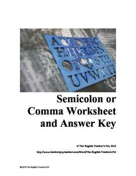 Comma worksheets with answer key