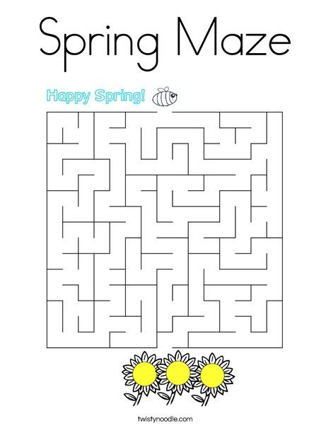 Spring Maze Coloring Page - Twisty Noodle