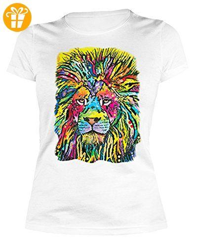 Lady Shirt Neon Löwe Shirt 4 Heroines Damen T-Shirt Geburtstag Geschenk  geil bedruckt (