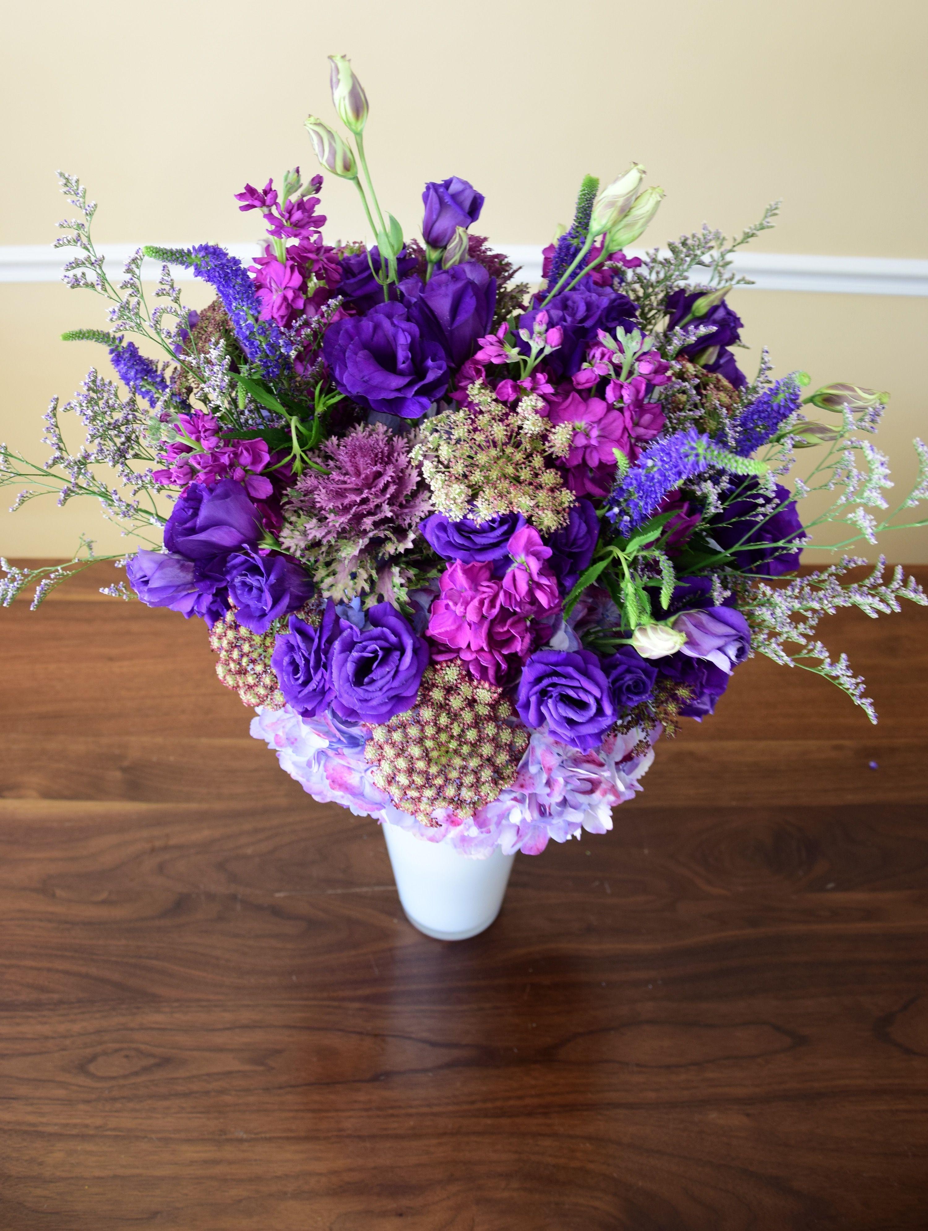 Flower centerpiece with purple flowers. Birthday flower