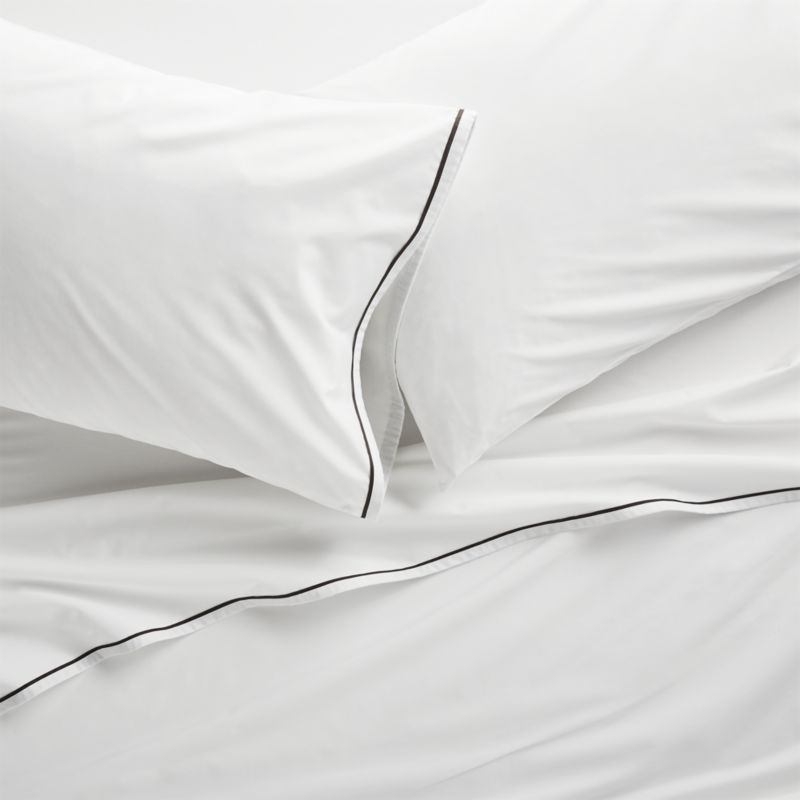 Haven Black Percale Sheet Sets And Pillowcases Adds Modern Definition To Crisp White Cotton Bed Linens With Pillow Cases Flat Sheets