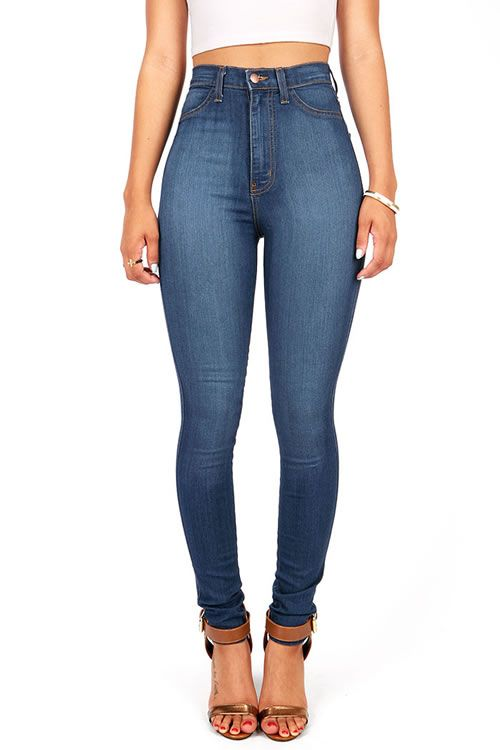 Classic High Waist Skinny Jeans - Dark | Trousers, Clothes and ...