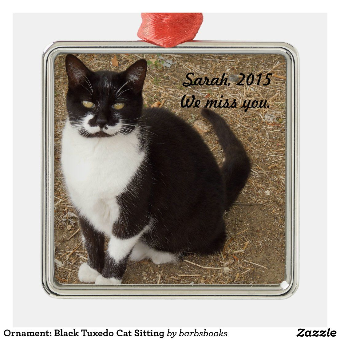 Ornament Black Tuxedo Cat Sitting Metal Ornament Zazzle Com Cat Sitting Tuxedo Cat Tuxedo Kitten
