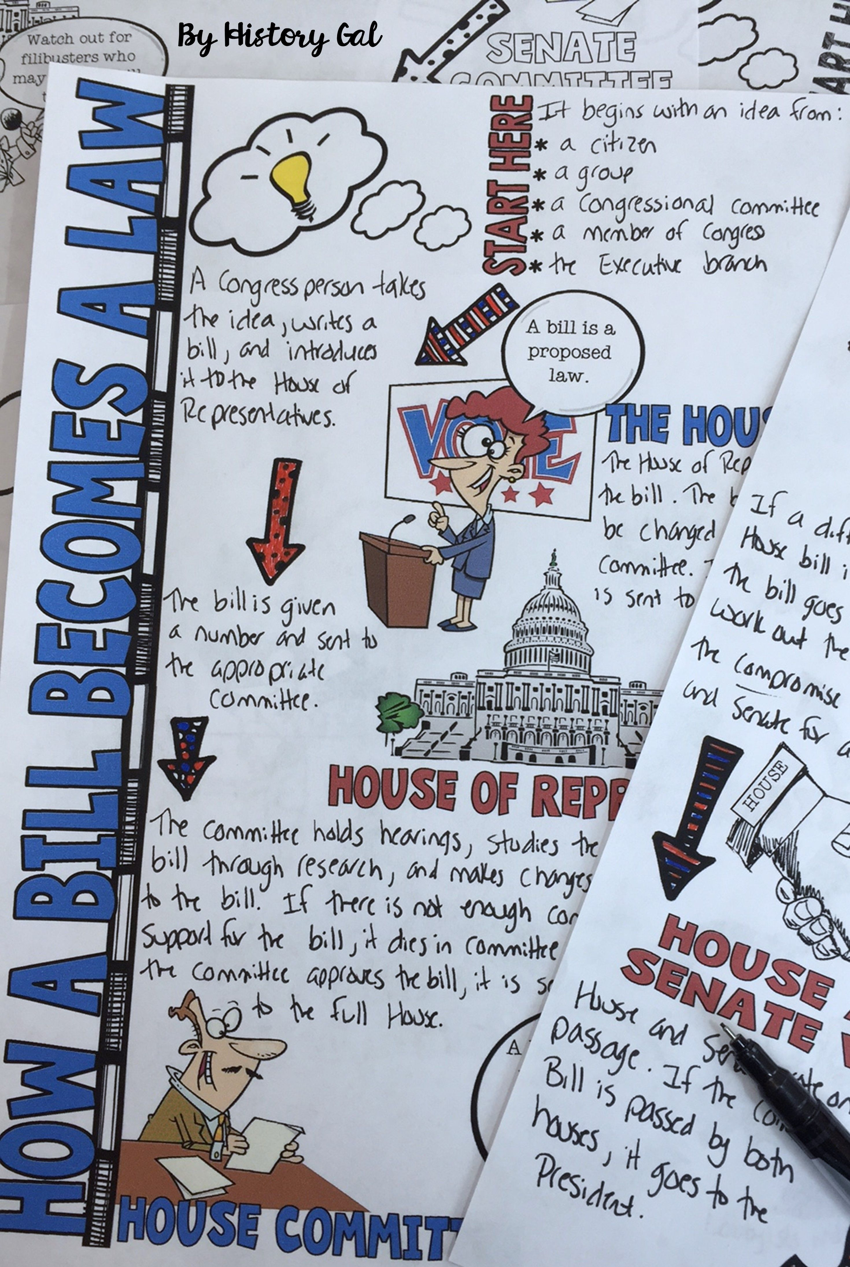 Students Will Color And Doodle As They Take Notes To Learn About How A Bill Becomes A Law These Graph Doodle Notes Social Studies Notebook Teaching Government