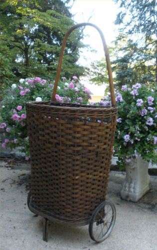 Antique Splint Wood Rolling Shopping Basket Cart Wheels Vintage