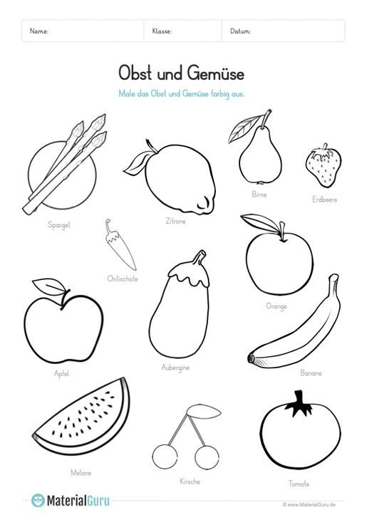 A Free Worksheet On The Theme Of Fruits And Vegetables Where Children Are Asked To Color Black And White Illustrations Of Fruits And Vegetables Download For F In 2020 Kostenlose Arbeitsblatter