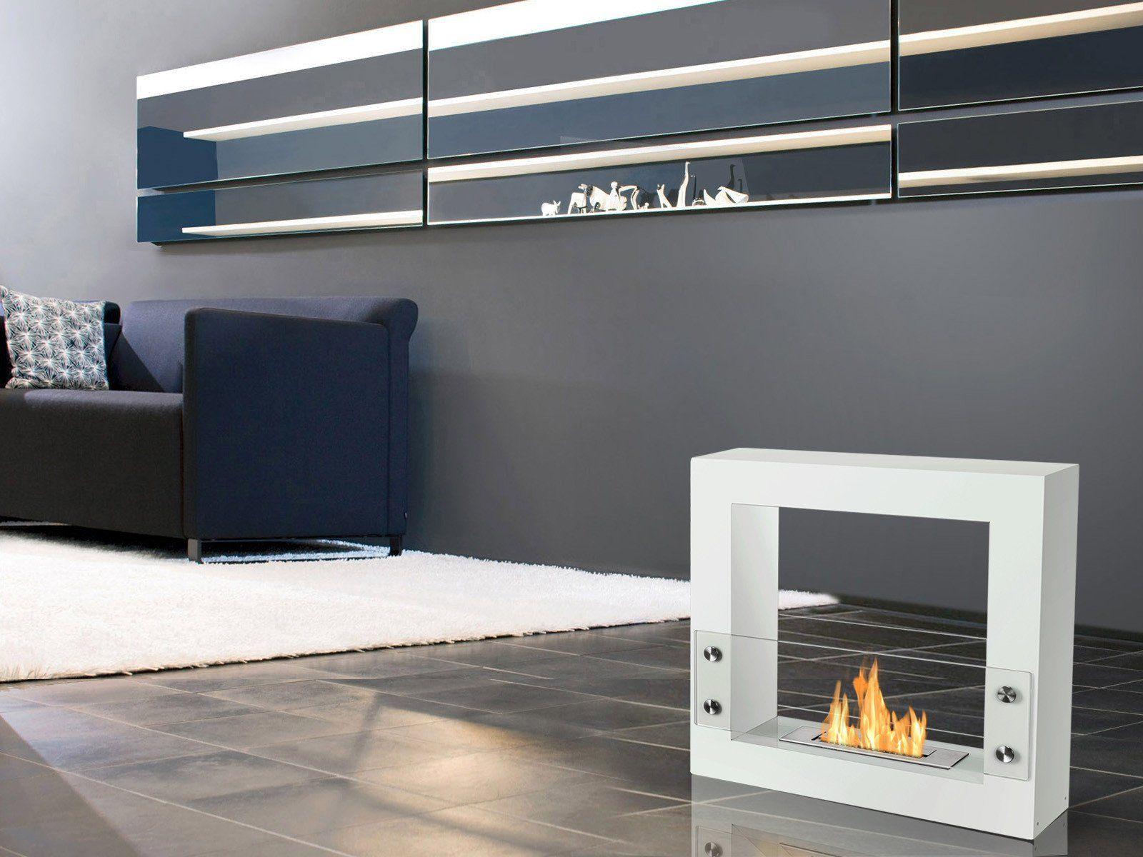 Ignis Tectum Mini White 24 Free Standing Ethanol Fireplace In