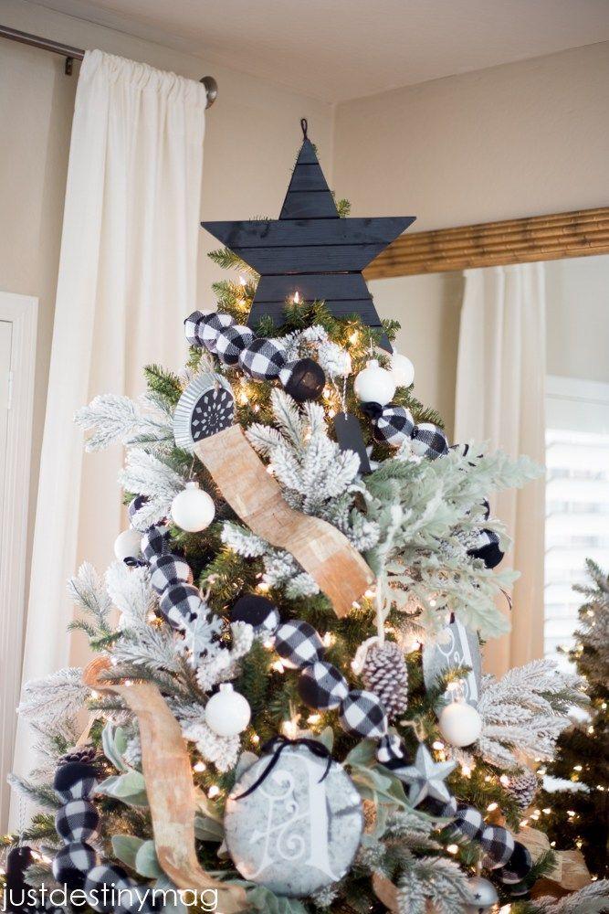 Christmas Tree with Buffalo Check- Michaels Dream Tree Challenge #blackchristmastreeideas