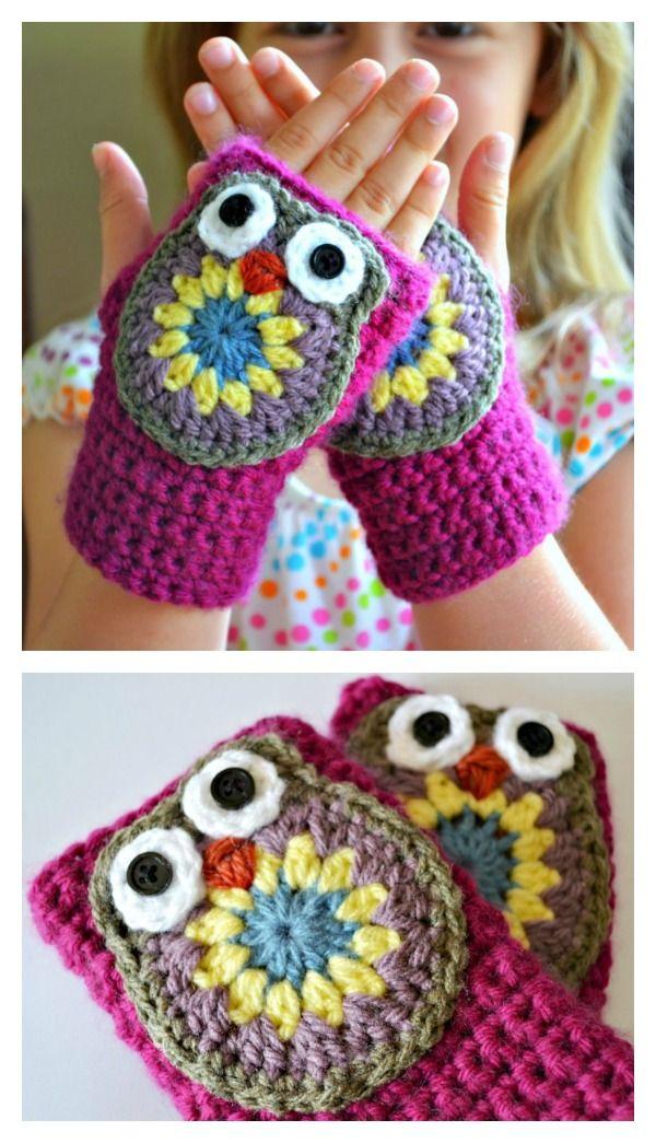 Adorable Owl Mittens Free Crochet Pattern | TEJIDOS CROCHET ...