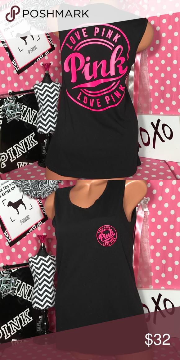 44de93e08d47f Victorias Secret Pink Tank Top VS Pink Campus tank top black with ...