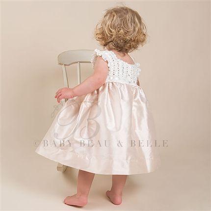 Marita Silk Christening Dress (Pink) |  Baptism Outfits & Dresses - Designer Gowns & Dresses