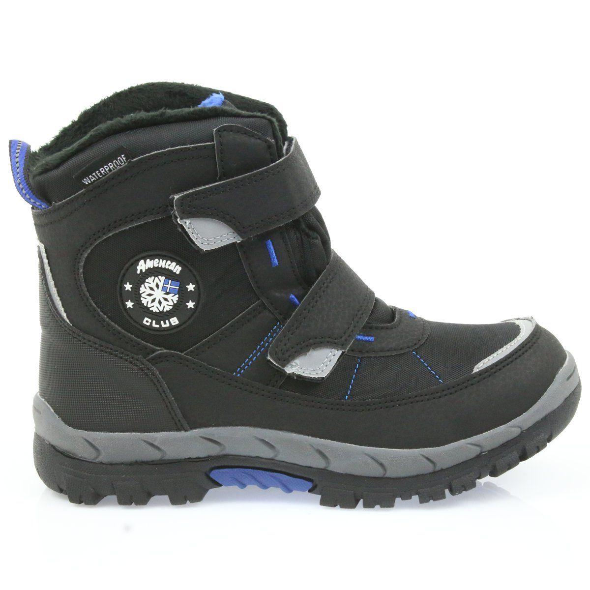 American Club American Kozaki Buty Zimowe Z Membrana 1122 Czarne Niebieskie Boots Winter Boots Childrens Boots