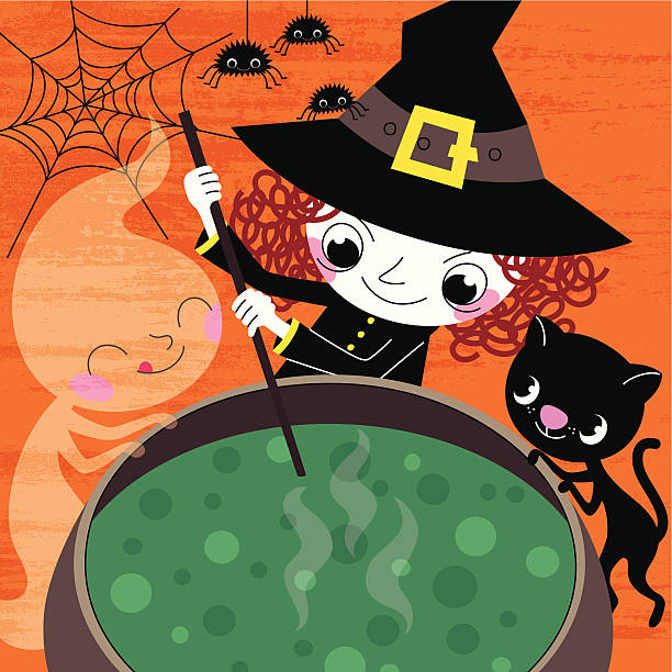 Witch and Company Prepare Halloween Soup. Free vector