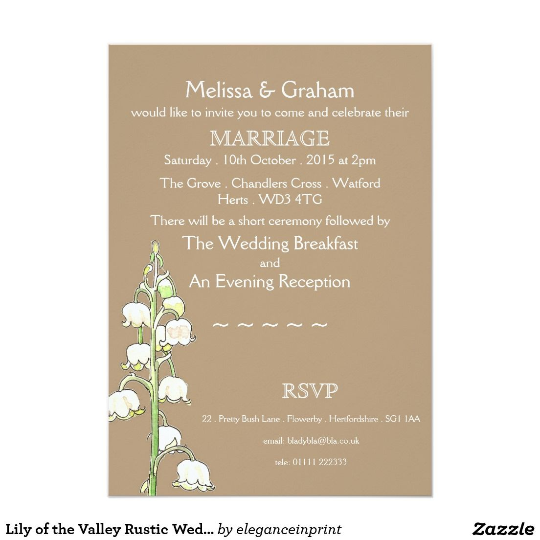 Lily of the Valley Rustic Wedding Invitation | Weddings