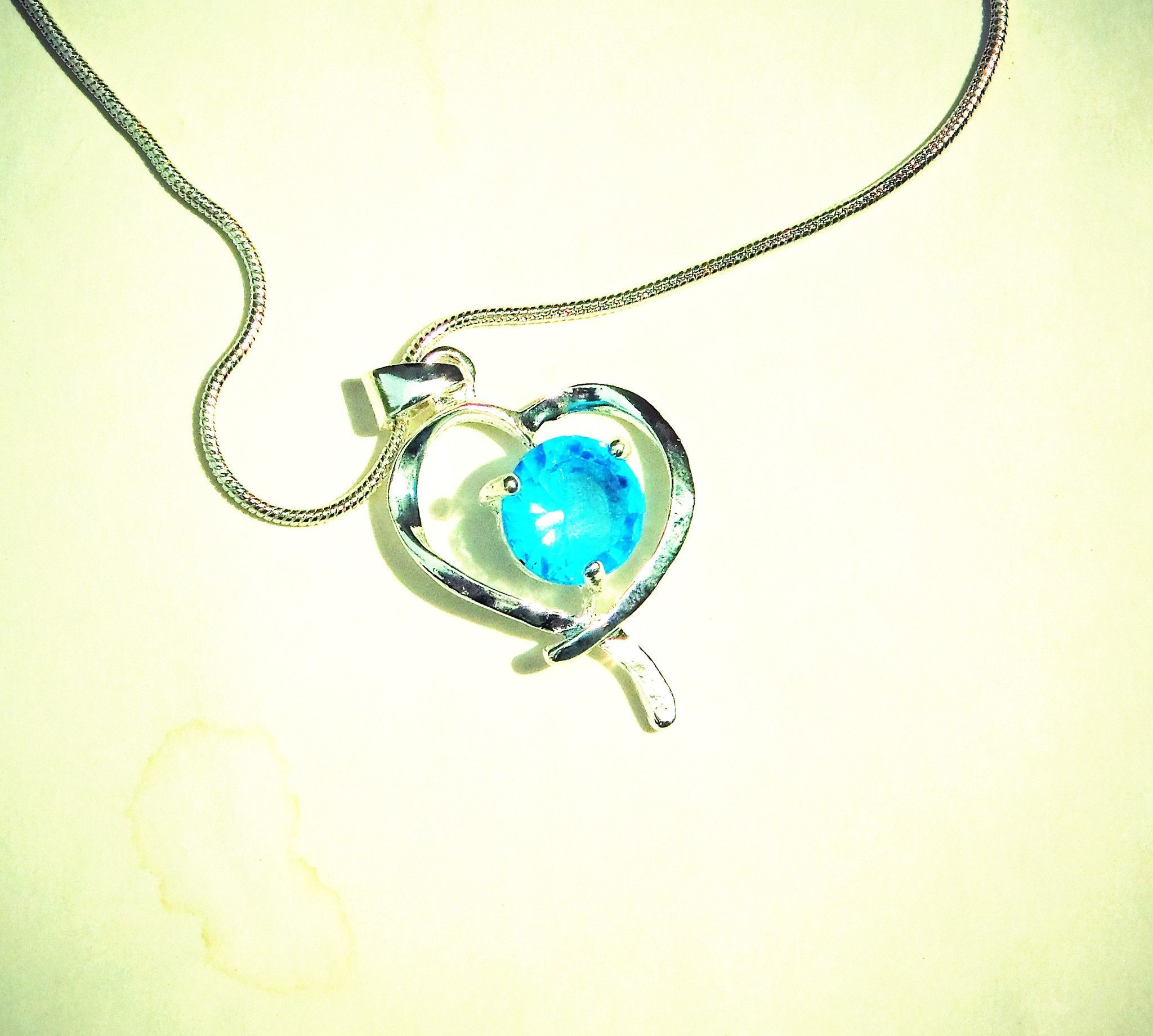 """Stunning Heart Shaped Sterling Silver 17"""" or 19"""" Necklace with Light Blue Stone"""