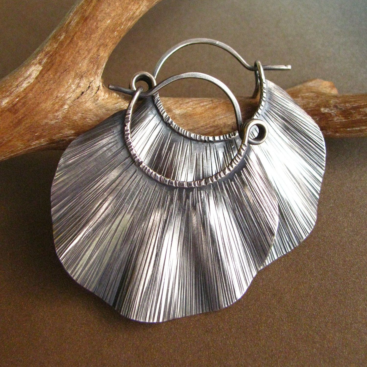 Large Sterling Silver Statement Earrings, Ruffled And
