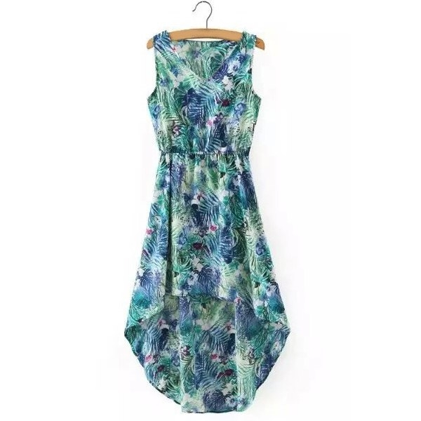 e8043db0ae 13.9  Watch here - http   disf4.justgood.pw go.php t 177159703 - Stylish High  Low Sleeveless V-Neck Printed Women s Chiffon Dress 13.9