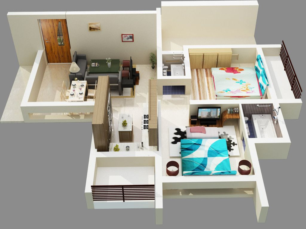 50 Two Bedroom ApartmentHouse Plans