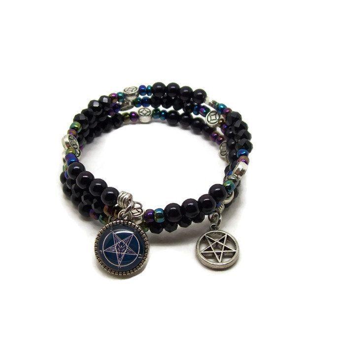 Baphomet Memory Wire Bracelet - Baphomet Bracelet - Wrap Bracelet