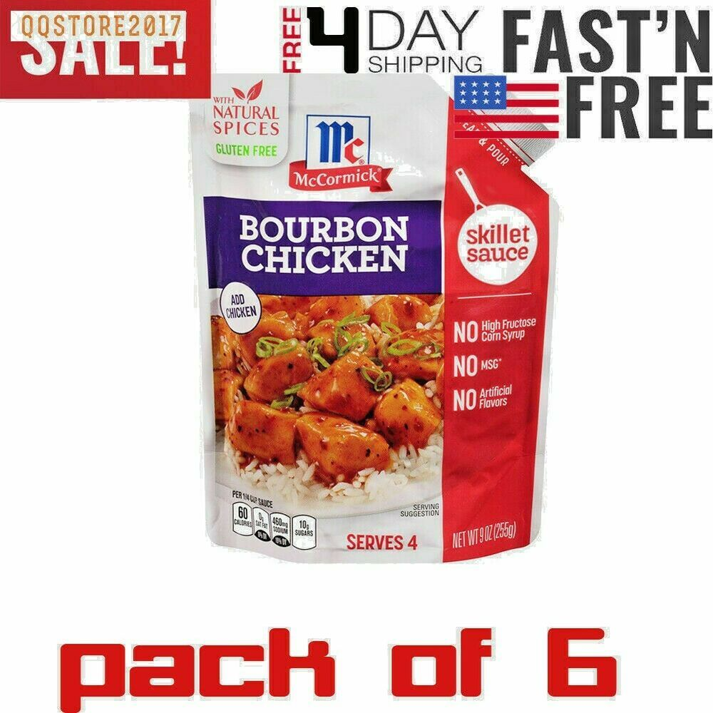 6 BAGS McCormick Gluten Free Bourbon Chicken Skillet Sauce, 9 Ounce Each #McCormick