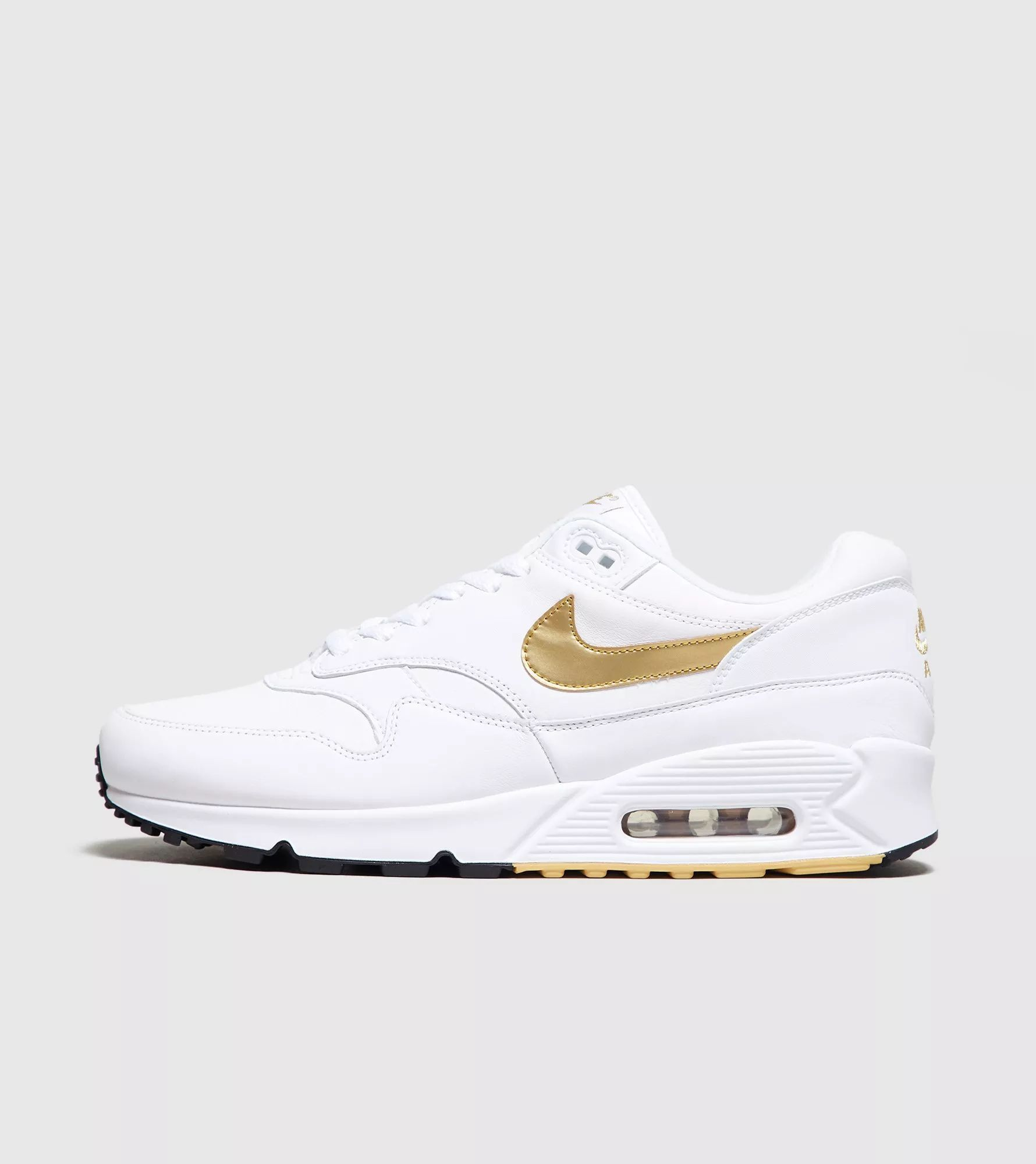 Nike Air Max 90 1 White Black Metallic Gold Mulheres Nike