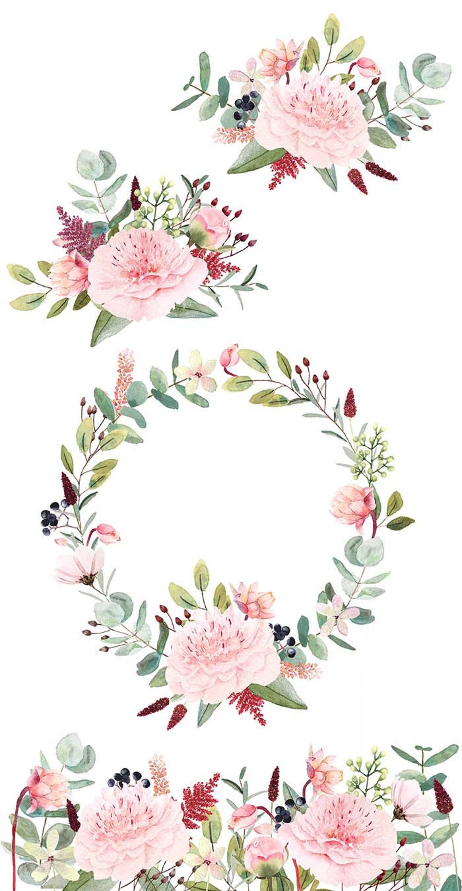 Watercolor Flower Clipart Water Color Floral Clipart Peonies Eucalyptus Flower Bouquet Floral Pattern Berries Flower Wreath Pink Green Floral Watercolor Flower Clipart Watercolor Flowers