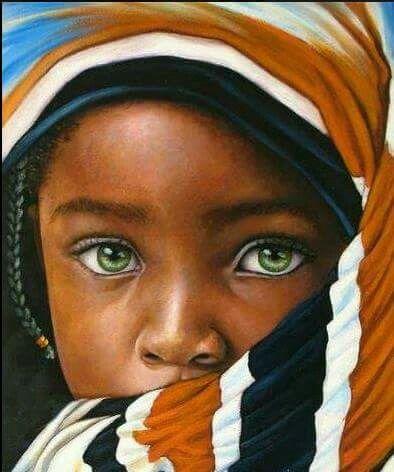 Nino Ojos Verdes Niños De Africa Rostros Cuadros De Negras