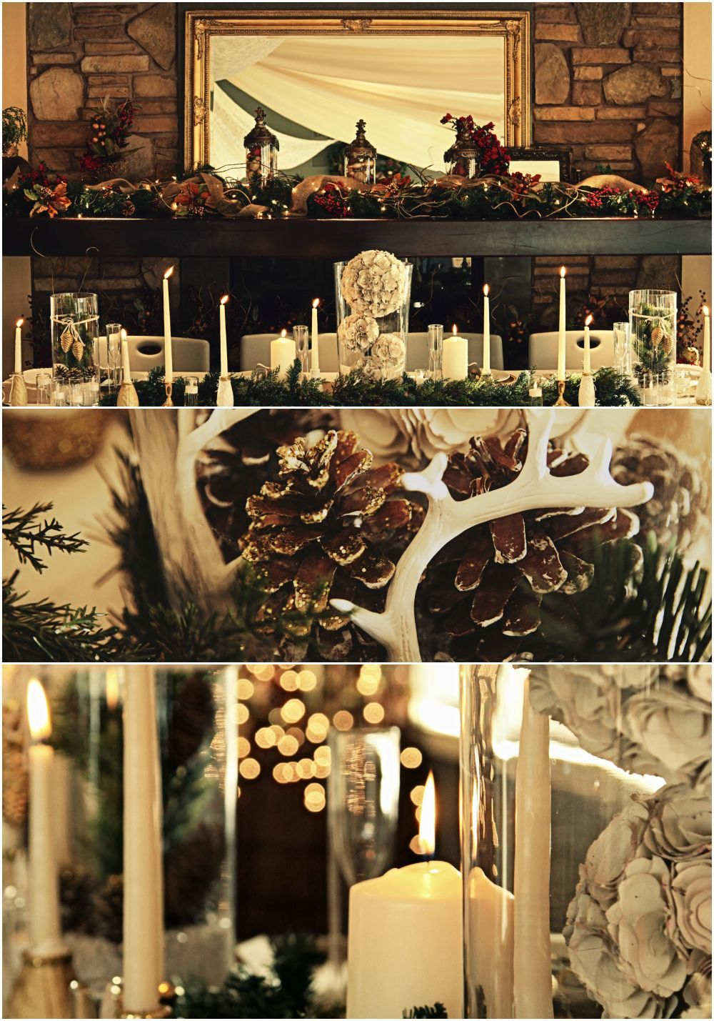 Winter wedding inspiration holiday in the forest tablescape