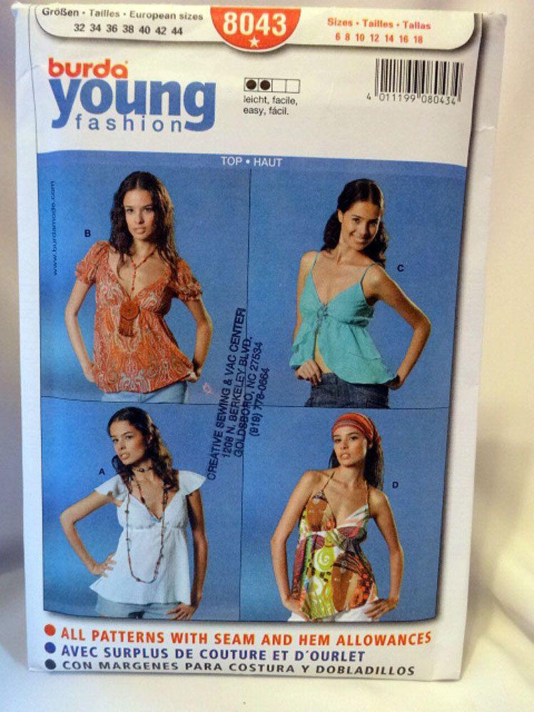 Burda 8043, Misses\' Top Sewing Pattern, Burda Young Fashion, Sewing ...