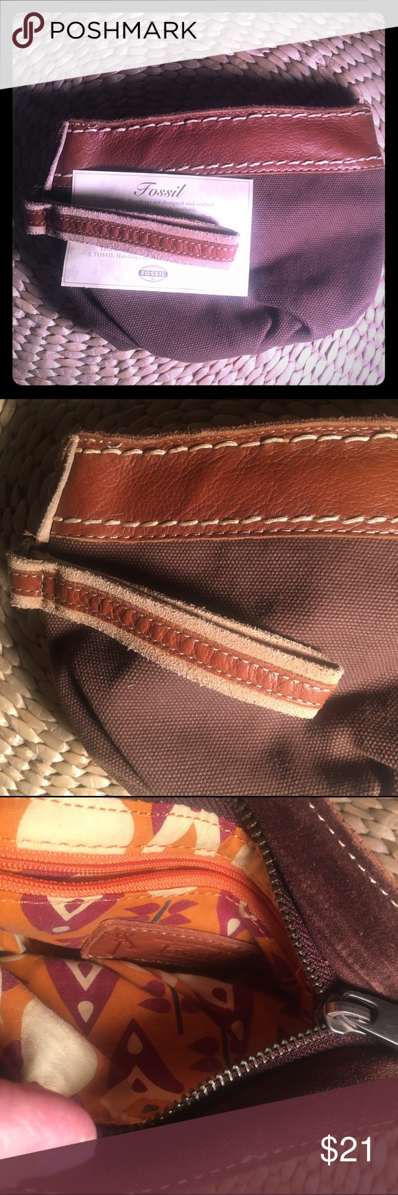 Fossil wristlet NWT Vintage collection NWT WRISTLET•zipper top opening and inside zipper. Brown fabric with logo Fossil fabric inside. Outer leather trim wth leather strap. Excellent condition never been used Bags Clutches & Wristlets