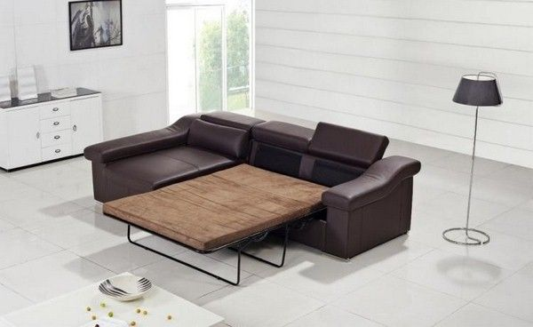corner sofa leather brown sleeping function Divani Casa T136C