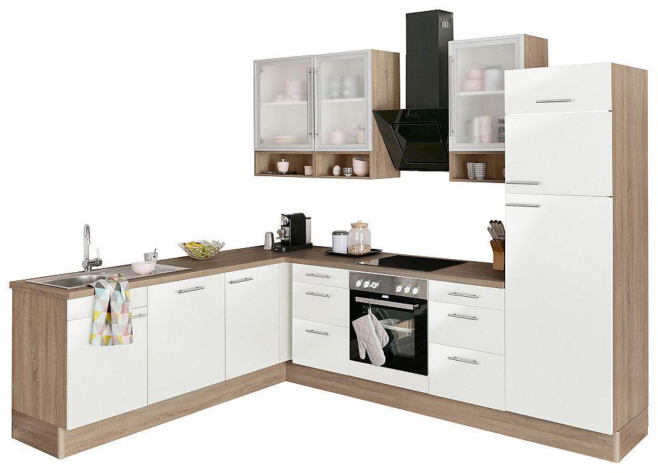 OPTIFIT Küchenzeile mit E-Geräten »Aue«, Breite 285\/225 cm cm - küchenblock ohne e geräte