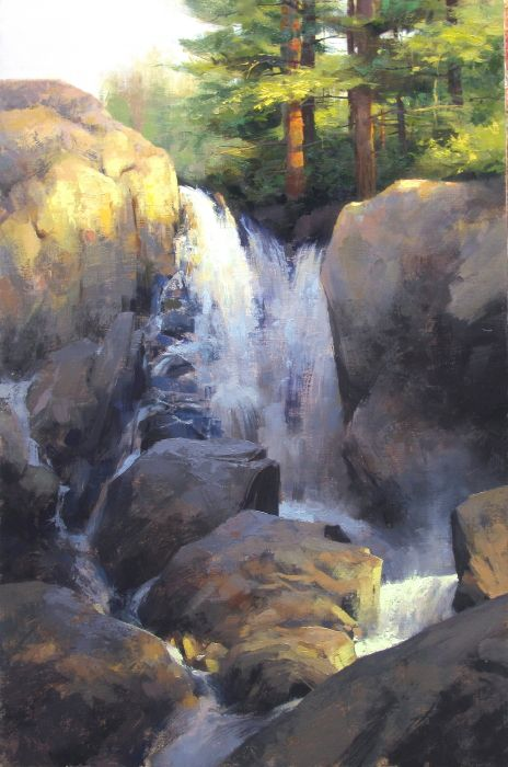 Vermont Waterfall By Mark Boedges Looks A Lot Like The Little Pigeon River In The Smokeys And The Ch Waterfall Paintings Landscape Art Landscape Paintings