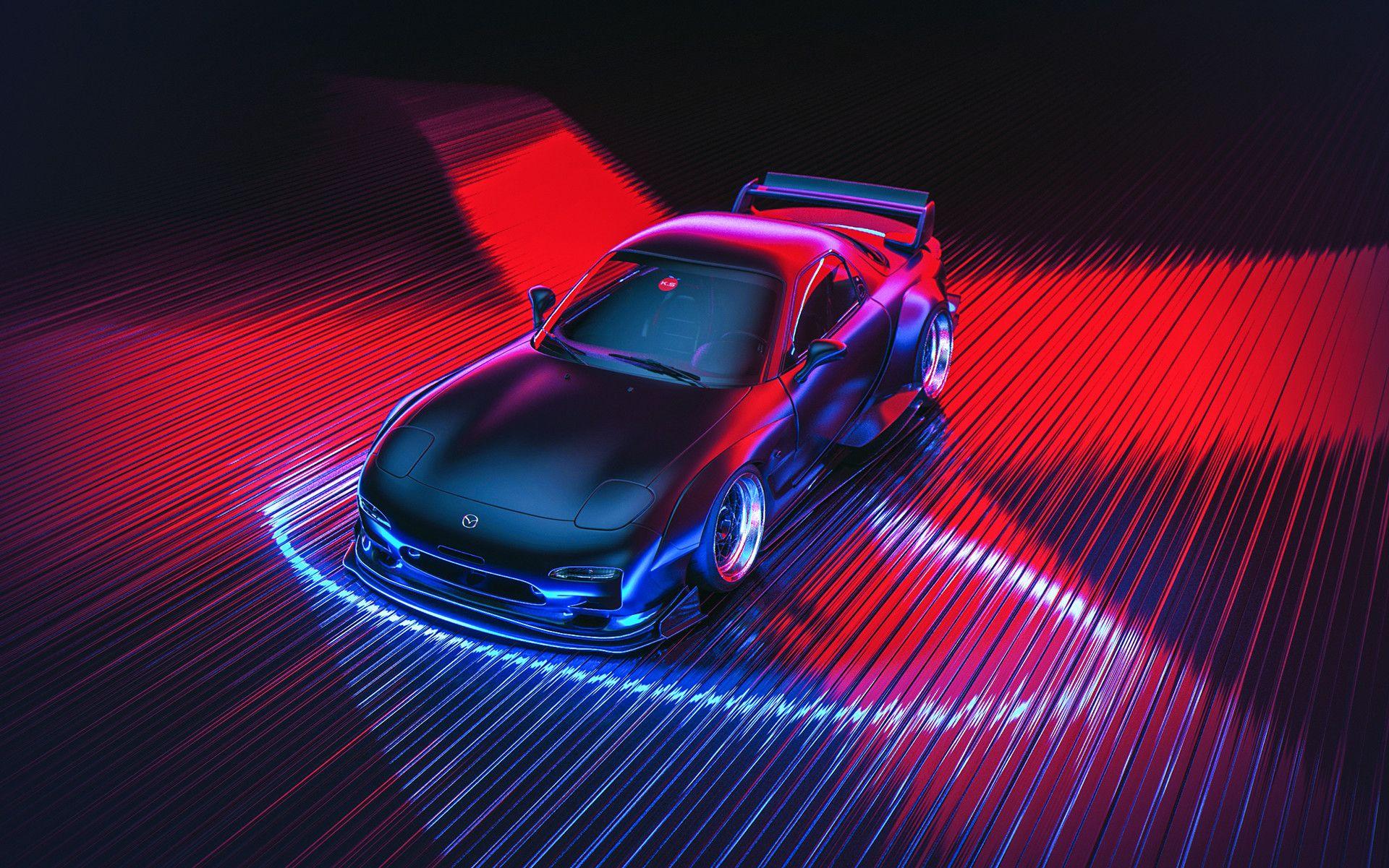Artstation Retrowave Fd3s Khyzyl Saleem Neon Car Mazda