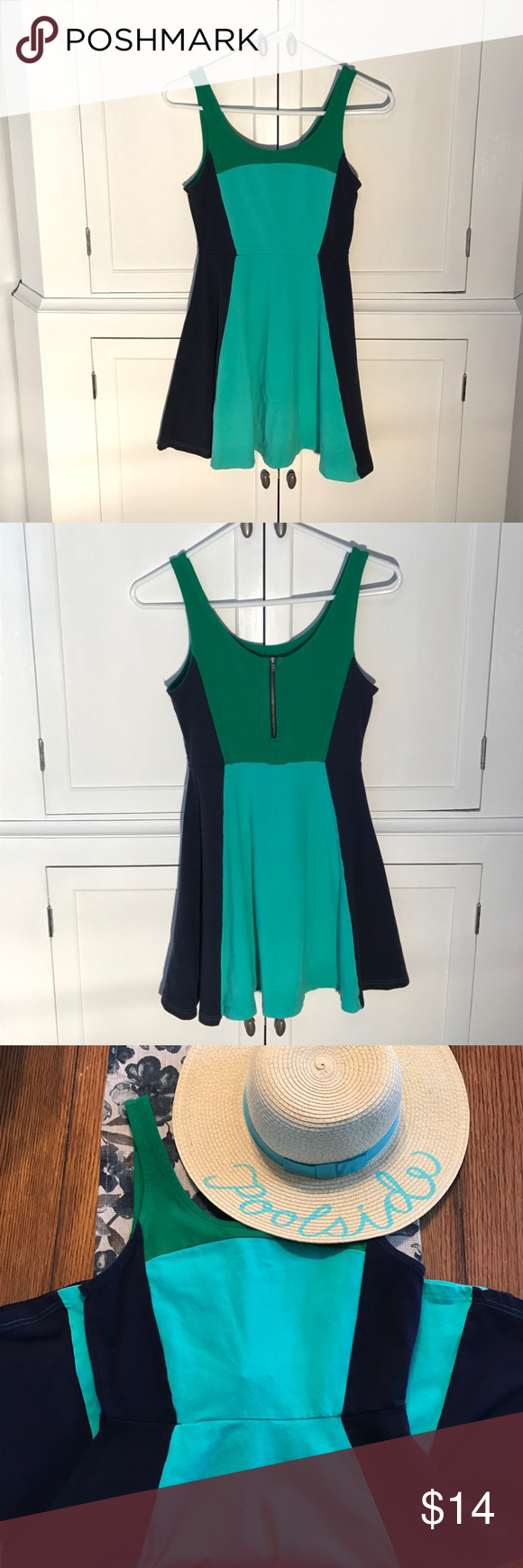 """E X P R E S S Navy, green and light blue dress 