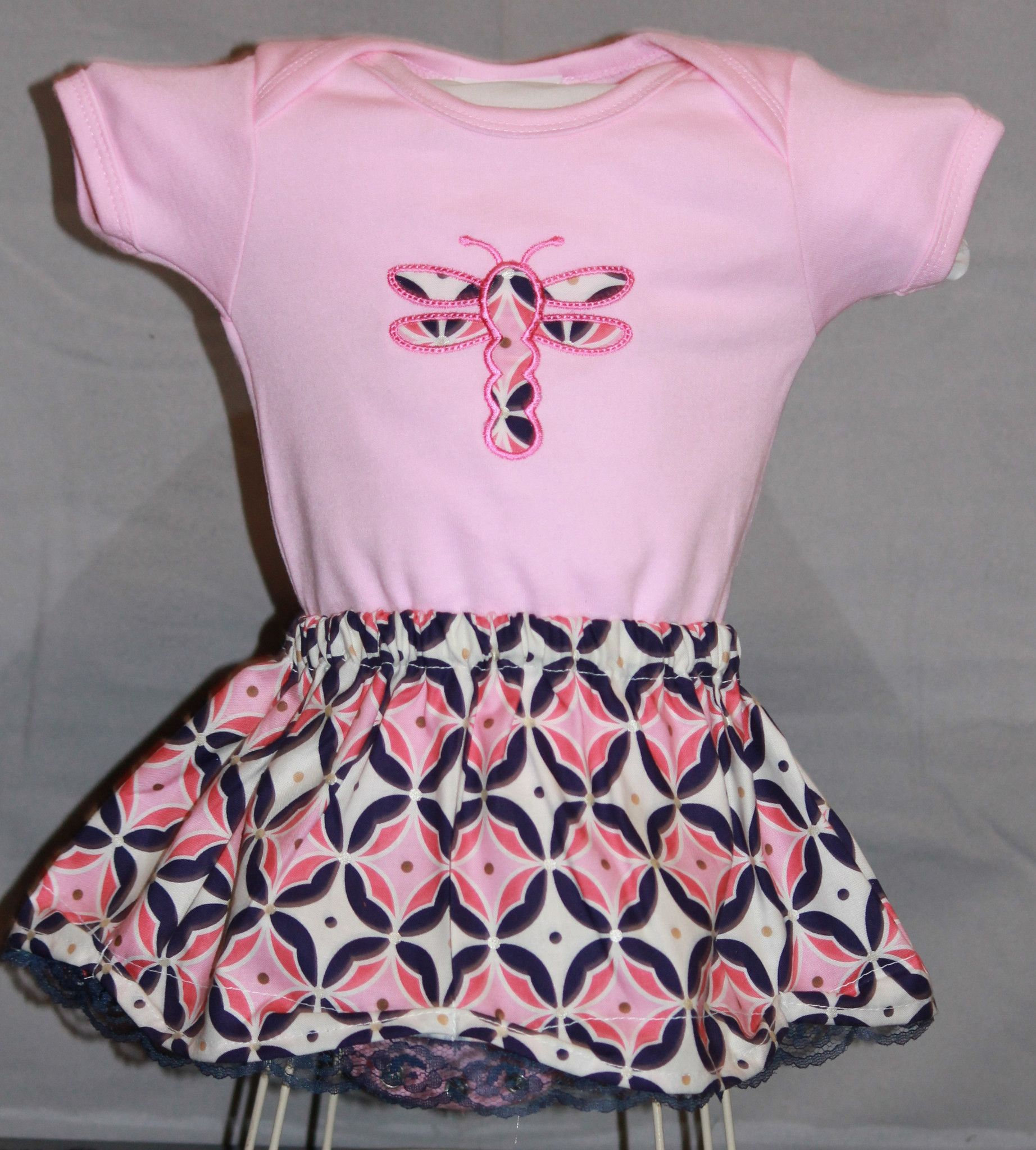 Fluttering Dragonfly Onesie and Scalloped Lace Skirt Set