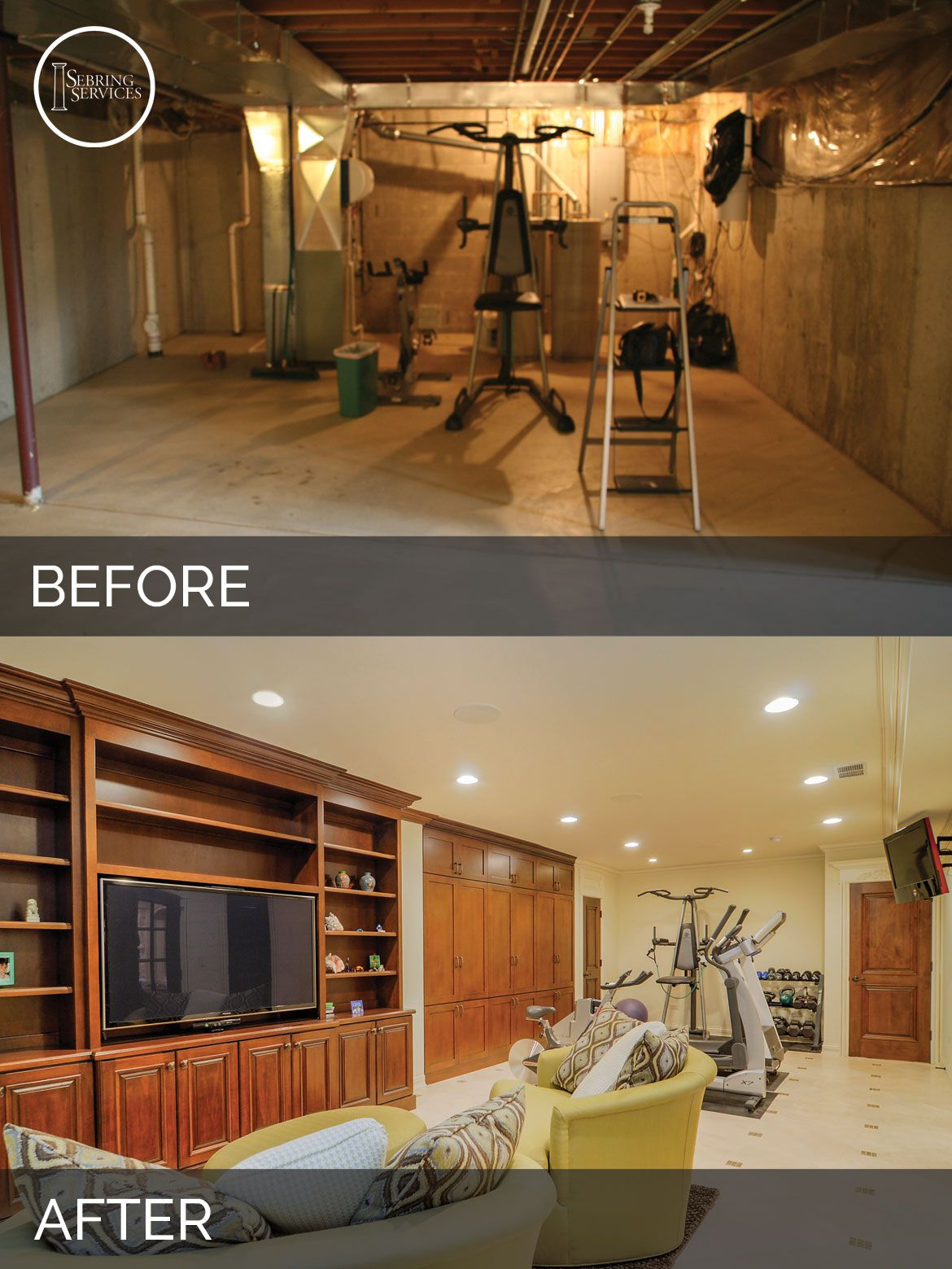 Steve Amp Ann S Basement Before Amp After Pictures Home Design Basement Bedrooms Basement Gym
