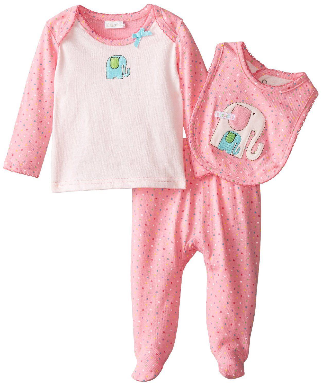 Amazon.com: ABSORBA Baby-Girls Newborn Boys Elephant 3 Piece Footed Pant Set: Clothing