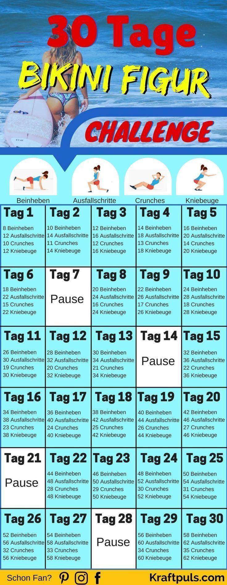30-Tage Bikini Figur Challenge: So bekommst auch du den Summerbody! WOW! Mit diesem Trainingsplan in...