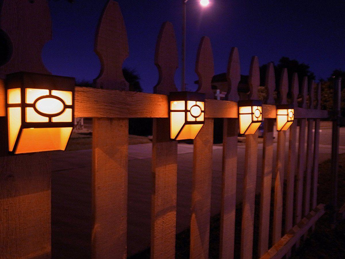 Upgrade Solar Powered Wall Mount Lights Landscape Garden Yard Fence Outdoor Warm Lights 8pc Wall Mounted Light Warm Light Solar Lights