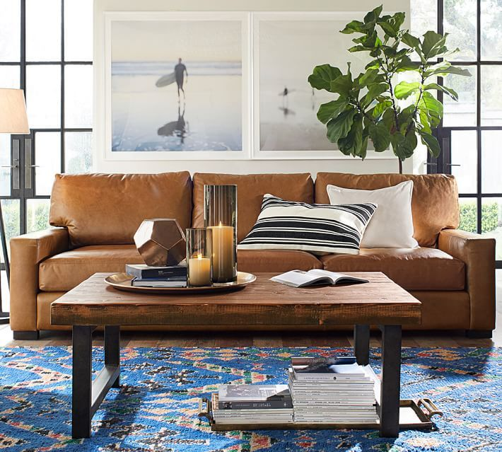 Turner Square Arm Leather Sofa Pottery Barn With Images