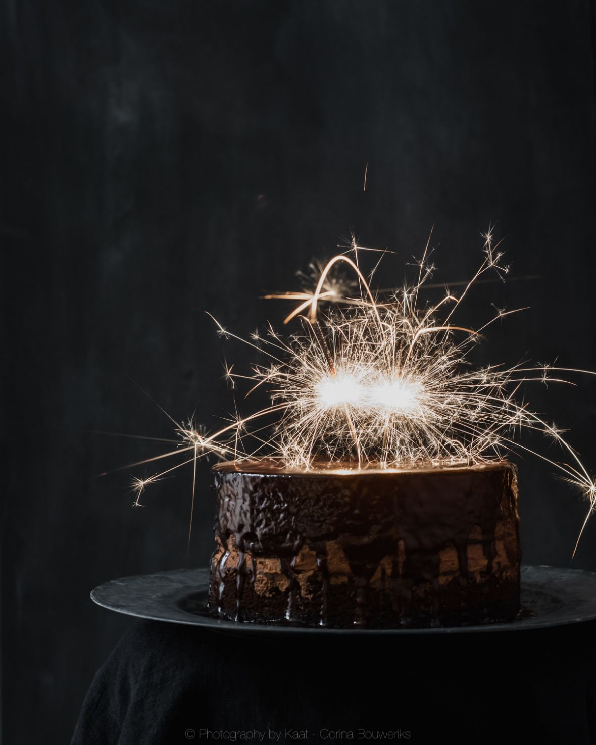 Enjoyable Chocolate Cake With Sparklers Food Photography Dark Food Funny Birthday Cards Online Fluifree Goldxyz