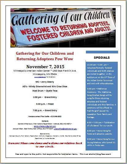Gathering for Our Children and Returning Adoptees Pow Wow
